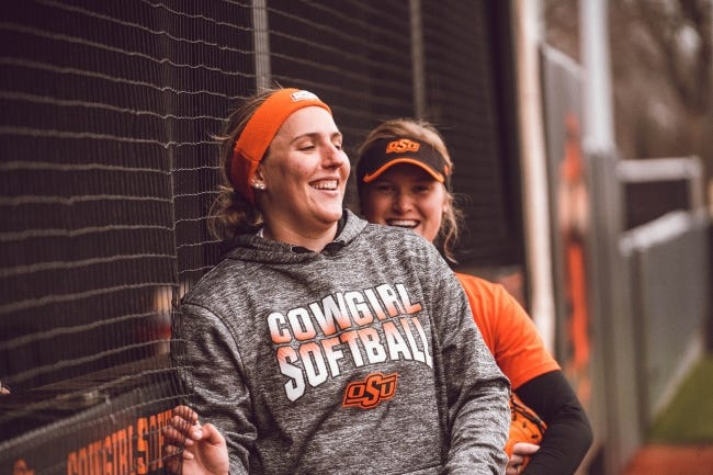 Oklahoma State pitcher Carrie Eberle was the ACC Pitcher of the Year at Virginia Tech in 2019 before transferring to Stillwater.