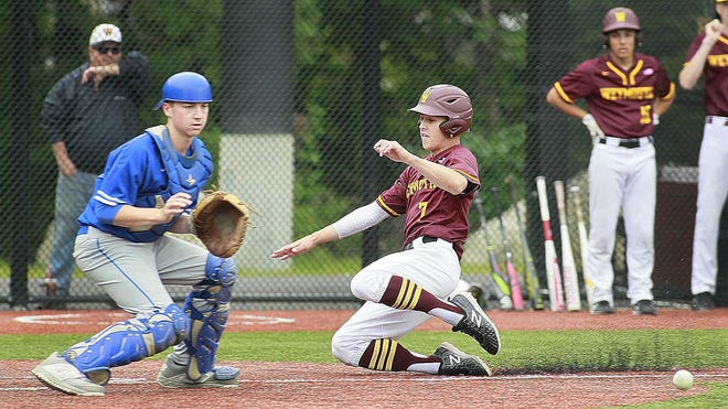 Weymouth's Sean Goudy slides safely home on a late throw to Braintree catcher Ryan Sorgi on Thursday, May 30, 2019 .