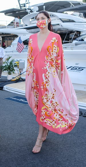 The Princess yachts were a fitting backdrop for dresses such as this one.