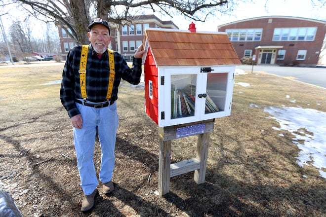 South Berwick resident Bob Ferioli rebuilt the historic Little Free Library outside of Central Elementary School on Main Street in South Berwick.