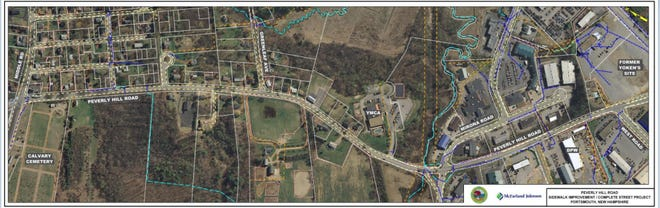 """The proposed plan for the Peverly Hill Road """"Complete Streets"""" project."""