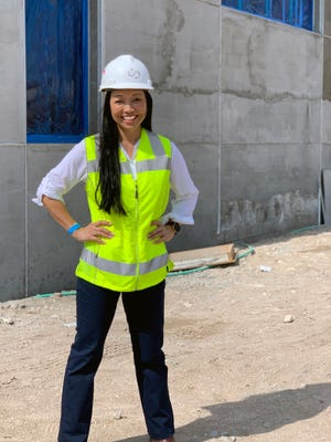 Jessica Chen, project executive, Suffolk, at the Plumosa School of the Arts, Delray Beach. The $11.2 million, 40,000-square-foot expansion is expected to be completed this fall.