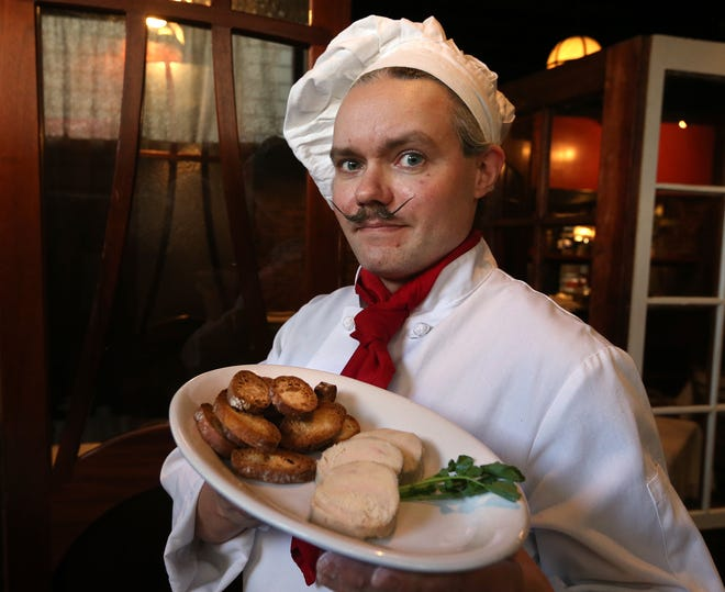 Spike Mikulski, executive chef at Pot au Feu in Providence, shows off his Pâté de Foie Gras, which would be banned under a bill now under consideration.
