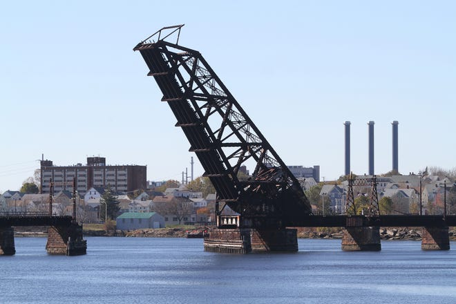 The old Providence and Worcester railroad bridge has been stuck in its upright position since 1976.