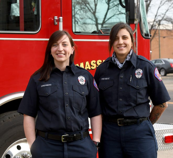 New Massillon firefighters Brittany Fleming (left) and Allison Fetters were sworn in Thursday morning at the city's Fire Station 1. Fleming and Fetters are the third and fourth women firefighters assigned to the agency. Overall, the Fire Department has 55 full-time firefighters.