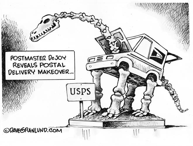 Dave Granlund cartoon on Postmaster General Louis DeJoy's continued changes to delivery service.