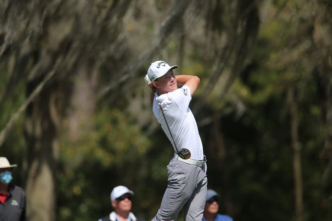 Reed Lotter, a junior at Savannah Country Day, follows through on a tee shot March 25 during the first round of the Korn Ferry Tour's Club Car Championship at The Landings Club.
