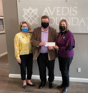 Shown, form left, are Avedis Foundation Program Officer Audrey Seeliger; Dane Pollei, Director and Chief Curator at the Mabee-Gerrer Museum of Art; and Avedis President and CEO Dr. Kathy Laster.