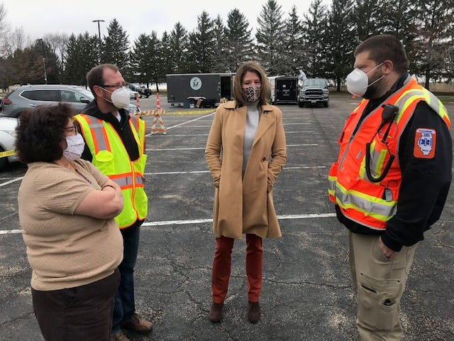 Congresswoman Cheri Bustos, U.S. Representative visited the Henry and Stark County Health Department and Henry County Office of Emergency Management Drive Thru Covid Vaccination Site at Black Hawk College-East Campus Wednesday. The visit allowed the Congresswoman the opportunity to see for herself how the Health Department and OEM have been moving thousands of area residents through the Covid-19 vaccination process without ever leaving their cars.