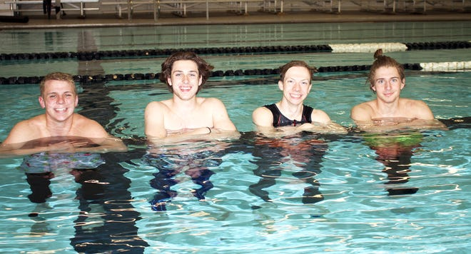 Rylee Cain, Dalton Tisdel (not pictured), Matt Toner and Justin Herblet will be swimming in the 200 yard freestyle relay at the Division 3 state finals. Pictured second from left is Charles Frost, the team's alternate for the event.