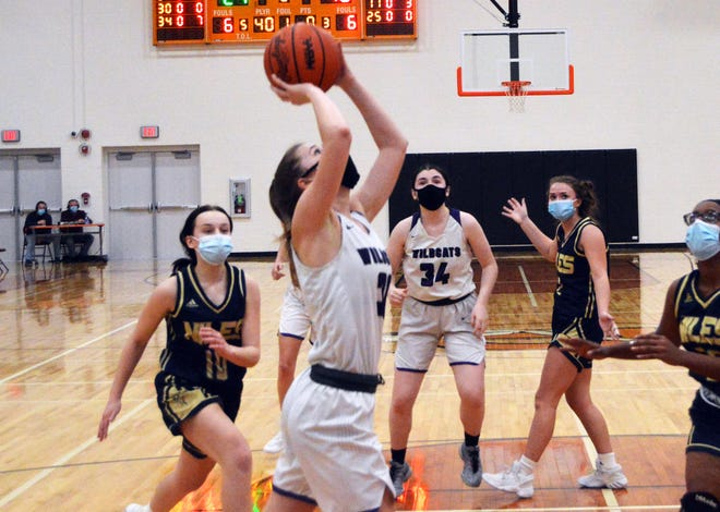 Emma Stasiuk puts up a shot for Three Rivers against Niles on Wednesday.