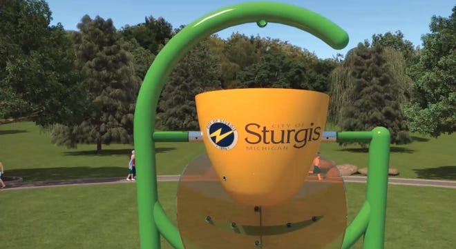 Artist's rendering of a water bucket at the proposed Sturgis splash pad was shown Wednesday at the city commission meeting.