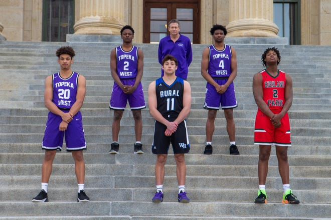 The Topeka Capital-Journal 2021 Boys All-City Basketball team. Front row (left to right): Trevion Alexander, Topeka West; Joe Berry, Washburn Rural; CJ Powell, Highland Park. Back row (L to R): Marque Wilkerson, Topeka West; Coach of the Year Rick Bloomquist, Topeka West; Elijah Brooks, Topeka West.