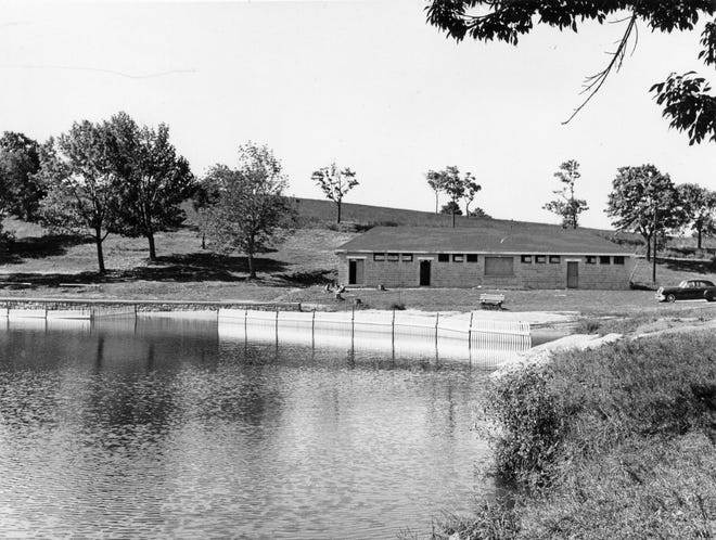 Bell Pond, shown on Sept. 12, 1959, once fed a reservoir toward downtown. The pipes were laid to to convey water through Prospect, Thomas, Main, Park, Salem, Mechanic, Pleasant and Elm streets.