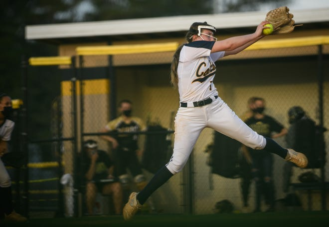 Cape Fear's Lex Glemaker winds up a pitch for a Gray's Creek batter on Wednesday, March 24, 2021, at Cape Fear High School.