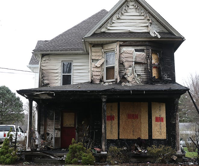 A house at 324 Park Ave. in Bolivar was damaged in a fire Thursday. (TimesReporter.com / Jim Cummings)