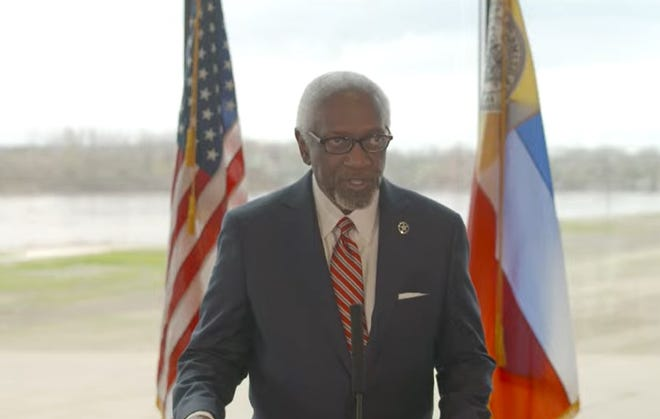 Mayor George McGill delivers his 2021 Fort Smith State of the City address on Wednesday, March 24, 2021, in the U.S. Marshals Museum.