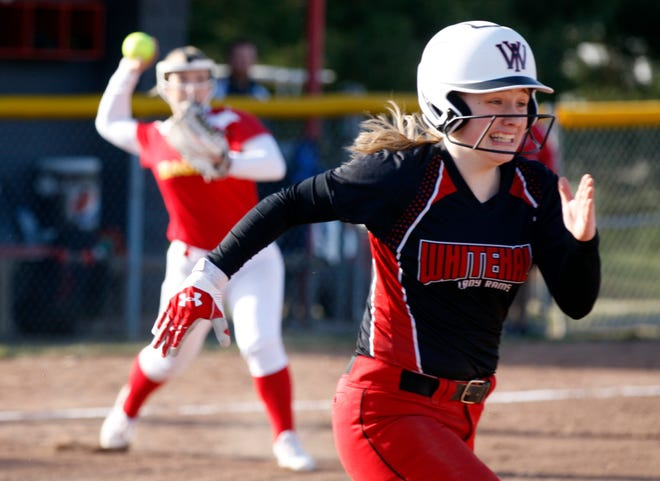 Whitehall junior third baseman Brooklynn Greer races toward first base during a game against Big Walnut in 2019. A year after the season was canceled because of the COVID-19 coronavirus pandemic, Greer is expected to be one of the Rams' top players.