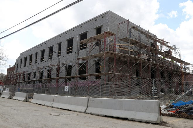 Construction continues at Worthington Schools' Kilbourne Middle School on March 24. A cafeteria, new entrances and an administration building are being added to the school as part of the district's first phase of its master facilities plan, which includes updates to all middle schools.