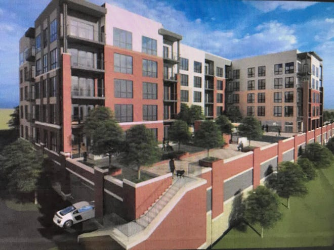 An artist's rendering of Towne Properties' planned five-story apartment complex on Cincinnati's riverfront near downtown