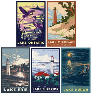 Lionheart Graphics Great Lakes posters are the same ones in Gov. Gretchen Whitmer's office. They come in three different sizes and can be purchased as a set or individually.