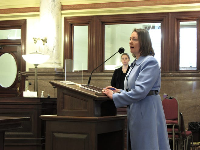 Cascade County District Court Judge Michele Reinhart Levine speaks before the Montana Senate Judiciary Committee on Wednesday, March 24, 2021. Levine and two other Montana interim judges are seeking confirmation from the Senate.