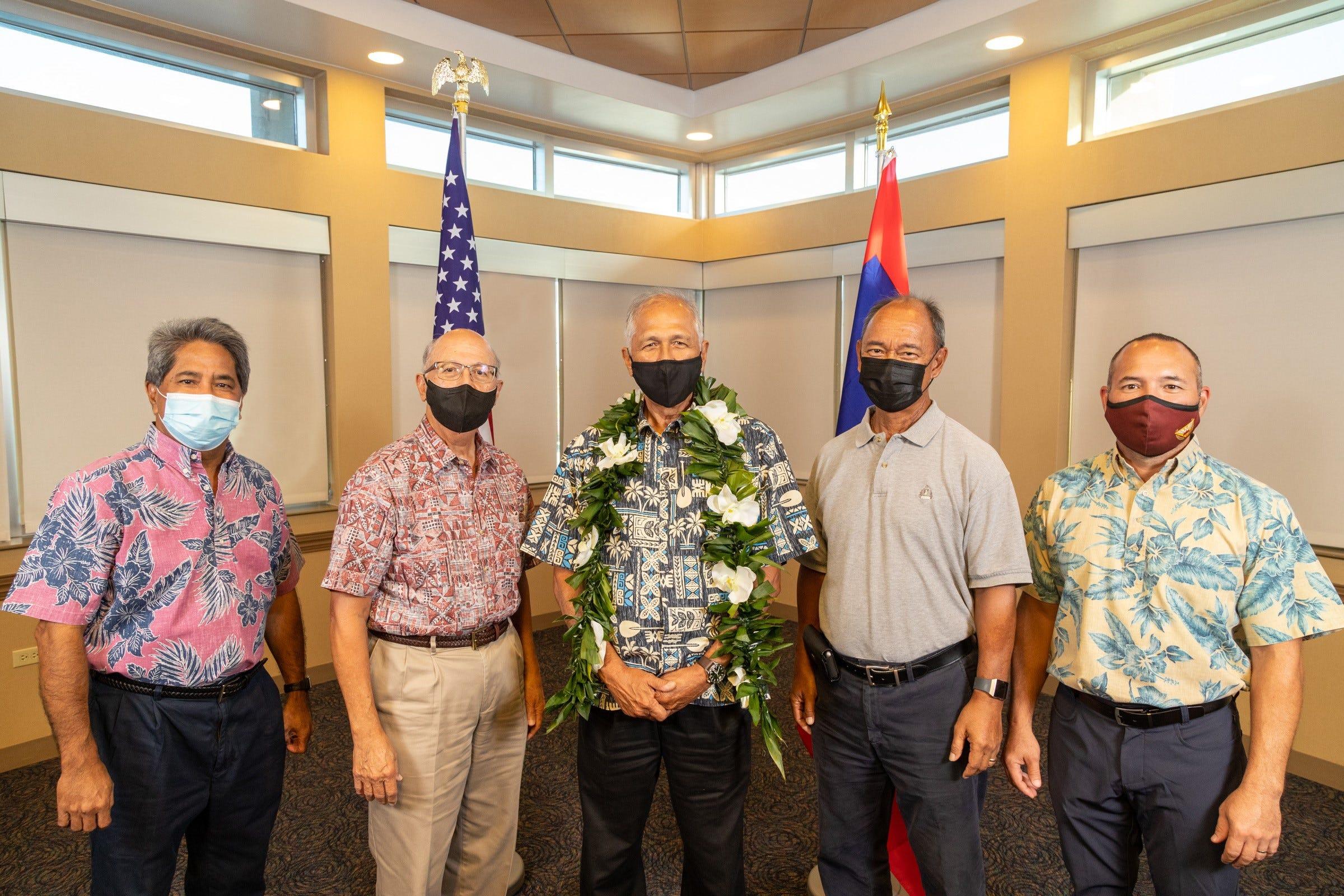 Guam Consolidated Commission on Utilities commissioners, from left: Francis Santos, Joseph Duenas, Pedro Roy Martinez, Simon Sanchez II and Michael Limtiaco.