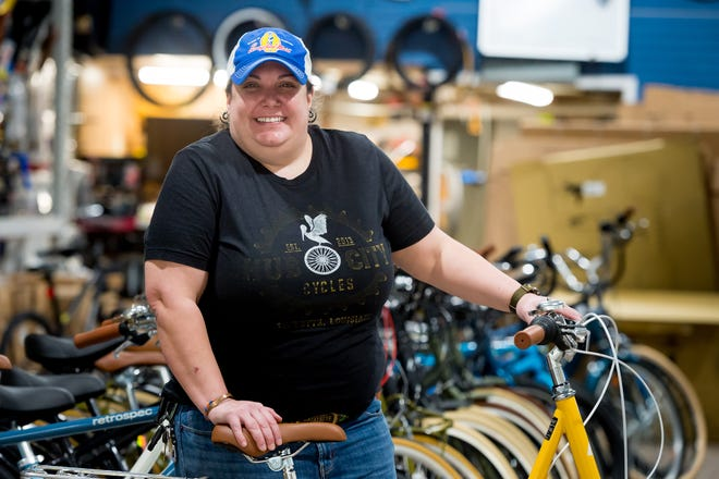 Megan Arceneaux is the owner of two local businesses, Hub City Cycles and Hawks Boil Up.Thursday, March 25, 2021.