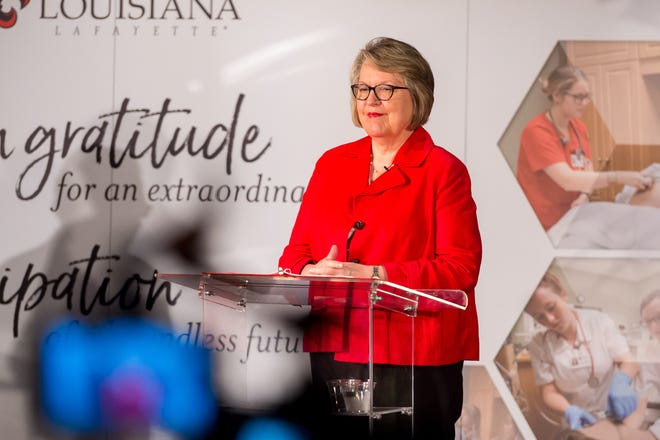 Dr Melinda Oberleitner Dean of the College of Nursing speaking as The University of Louisiana announces a historic  $20 million investment from the LHC Group. Thursday, March 25, 2021.