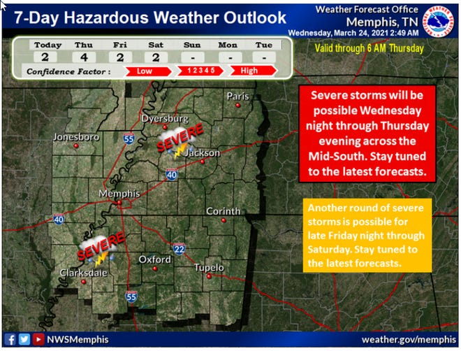 The National Weather Service 7-Day Hazardous Weather Outlook map.