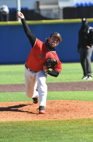 Ball State's John Baker pitches for the Cardinals during their series against Kentucky in March, 2021.