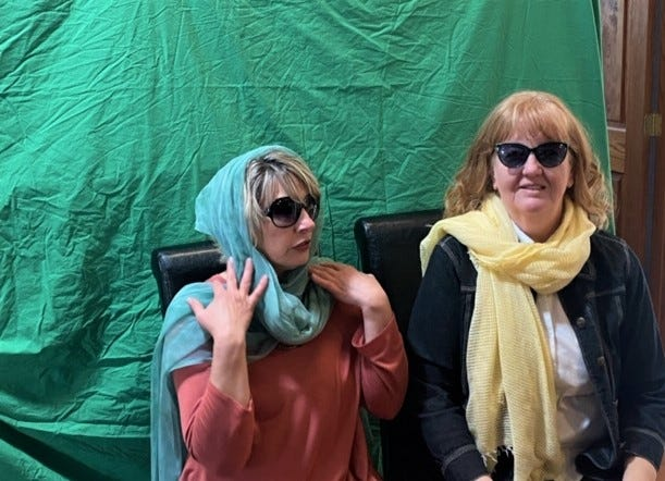 """Virginia Nickels-Hircock, left, and Robyn Woodard of the Caliente Community Chorus prepare for their """"Thelma and Louise"""" act that will be featured during the March 27 Broadway for Breakfast presentation."""
