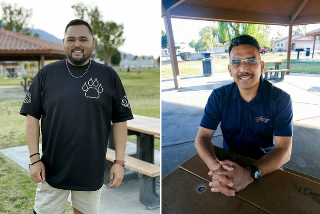 Michael Guzman is a certified athletic trainer for Cathedral City High School; Jose Macias is a licensed vocational nurse who also works as a referee during his off hours.