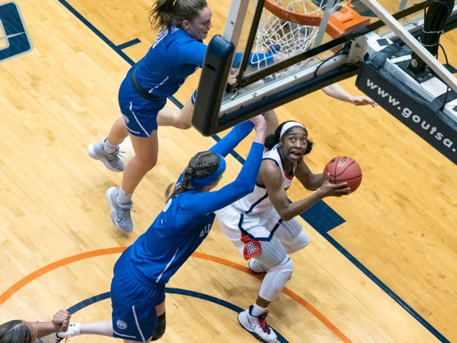Arizona guard Aari McDonald, right, looks to shoot against BYU center Sara Hamson, left, during the first half of a college basketball game in the second round of the NCAA women's tournament at the UTSA Convocation Center in San Antonio, Wednesday, March 24, 2021. (AP Photo/Michael Thomas)