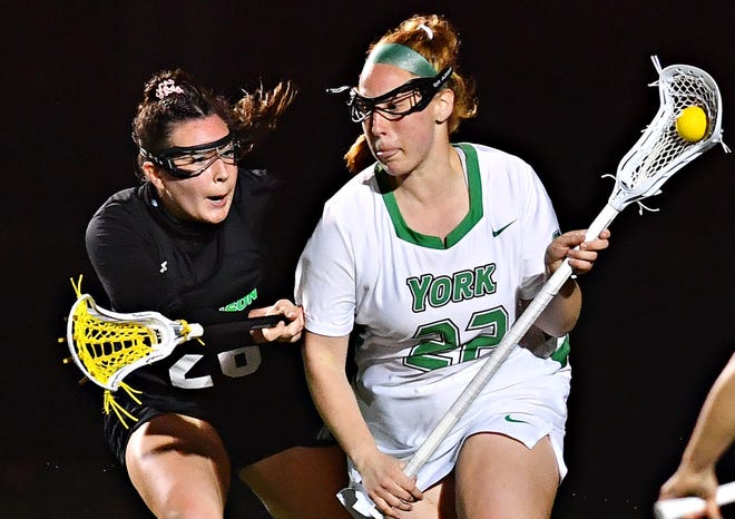 York College Celly Arthur, seen here at right in a file photo, had three goals and five assists on Thursday in a 15-4 win vs. Widener.