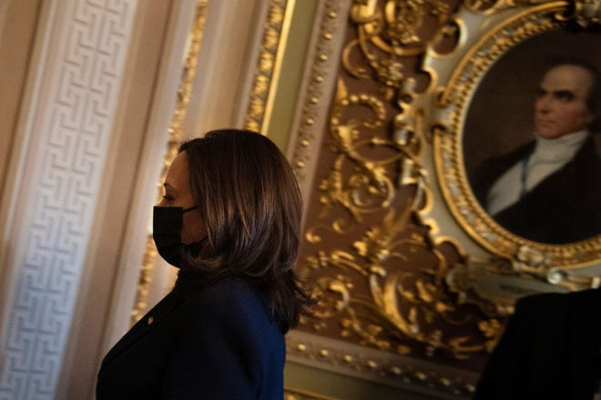 Vice President Kamala Harris leaves Capitol Hill after placing a tiebreaking vote in the Senate on COVID-19 relief legislation, on Thursday, March 4, 2021, in Washington, D.C. (Brendan Smialowski/AFP via Getty Images/TNS)