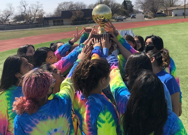 The San Angelo Lake View High School girls soccer team celebrates after winning the District 3-4A championship against Lubbock Estacado in Snyder on Tuesday, March 23, 2021.