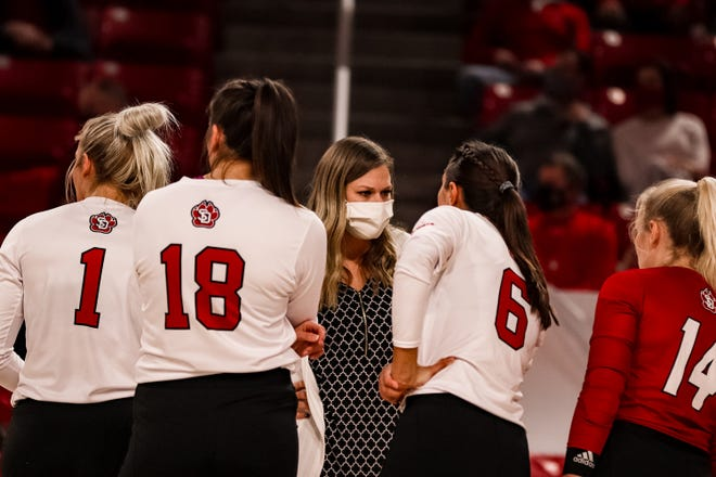 South Dakota volleyball coach Leanne Williamson addresses her team during a timeout against Kansas City on March 19 at the Sanford Coyote Sports Center in Vermillion.