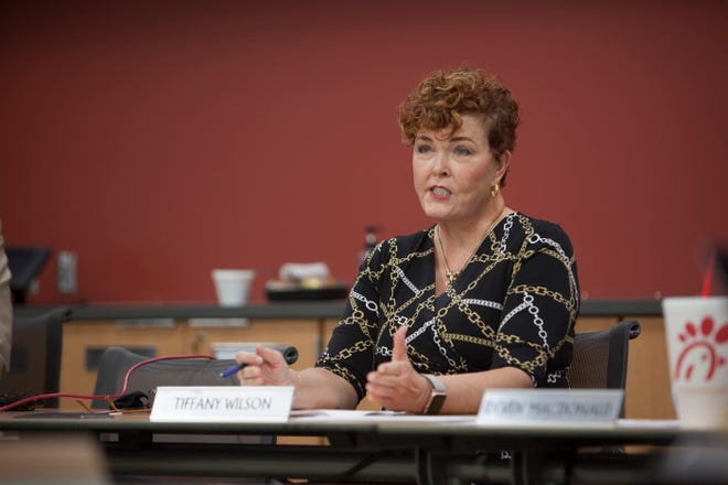 Board member Tiffany Wilson speaks as the Dixie State University Board of Trustees meets to recommend and vote on the Name Recommendation Committee members Thursday, March 25. 2021.