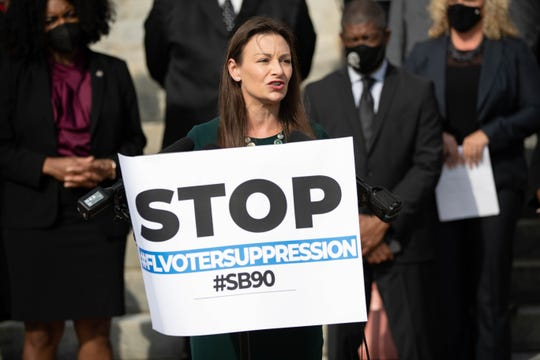 Agriculture Commissioner Nikki Fried speaks as pastors, lawmakers and activists gathered to stand in opposition to SB 90, a bill that would make changes to the vote-by-mail process in front of the Historic Capitol Thursday, March 25, 2021.