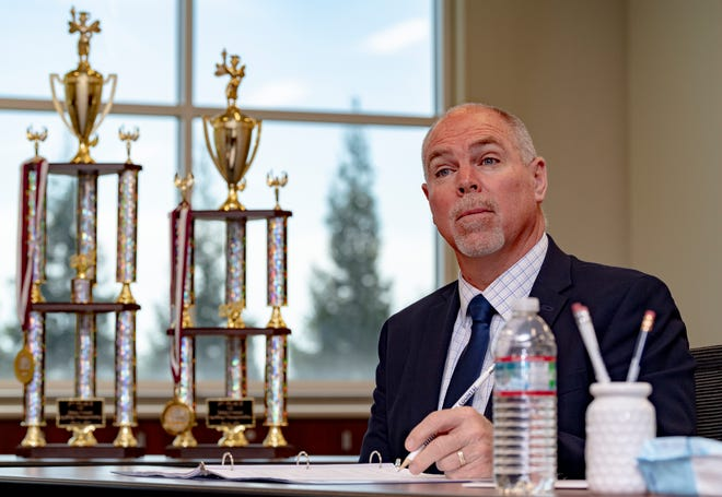 Tulare County Superintendent of Schools Tim A. Hire listens to spellers during the Tulare County Spelling Bee finals on Wednesday, March 24, 2021.