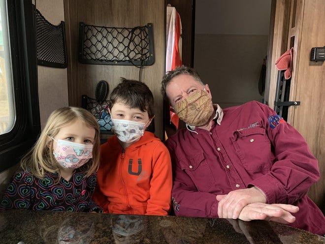David Anderson with grandkids Leona, 5, and Elliott, 9.