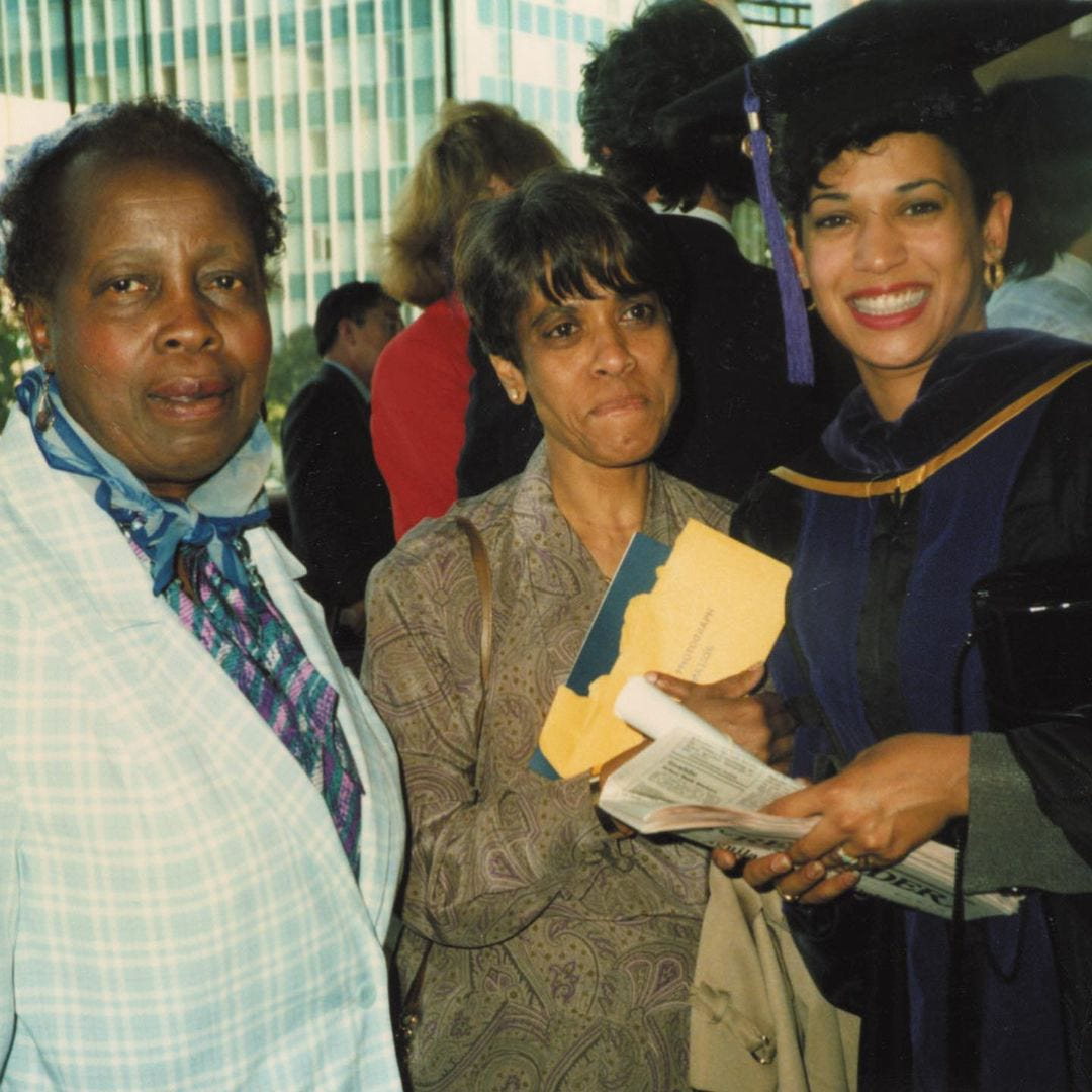 Vice President Kamala Harris, right, is pictured with Frances Wilson, left, and her mother Shyamala Gopalan Harris, center, in this undated file photo.