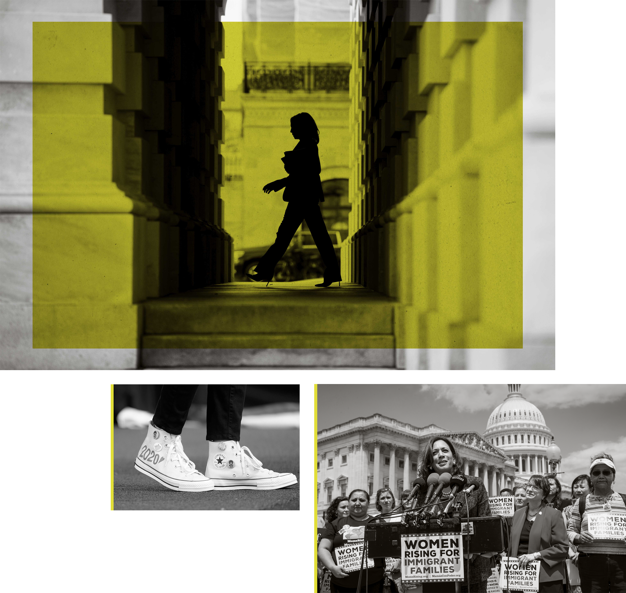 """TOP: Then-Sen. Kamala Harris leaves the Capitol after the conclusion of the Senate impeachment trial proceedings Feb. 3, 2020. LEFT: Harris' Converse high-top sneakers in 2020 feature """"Black Joy"""" buttons. RIGHT: Harris joins a women's advocacy group, MomsRising, to protest against separating children from their parents along the border in 2018."""