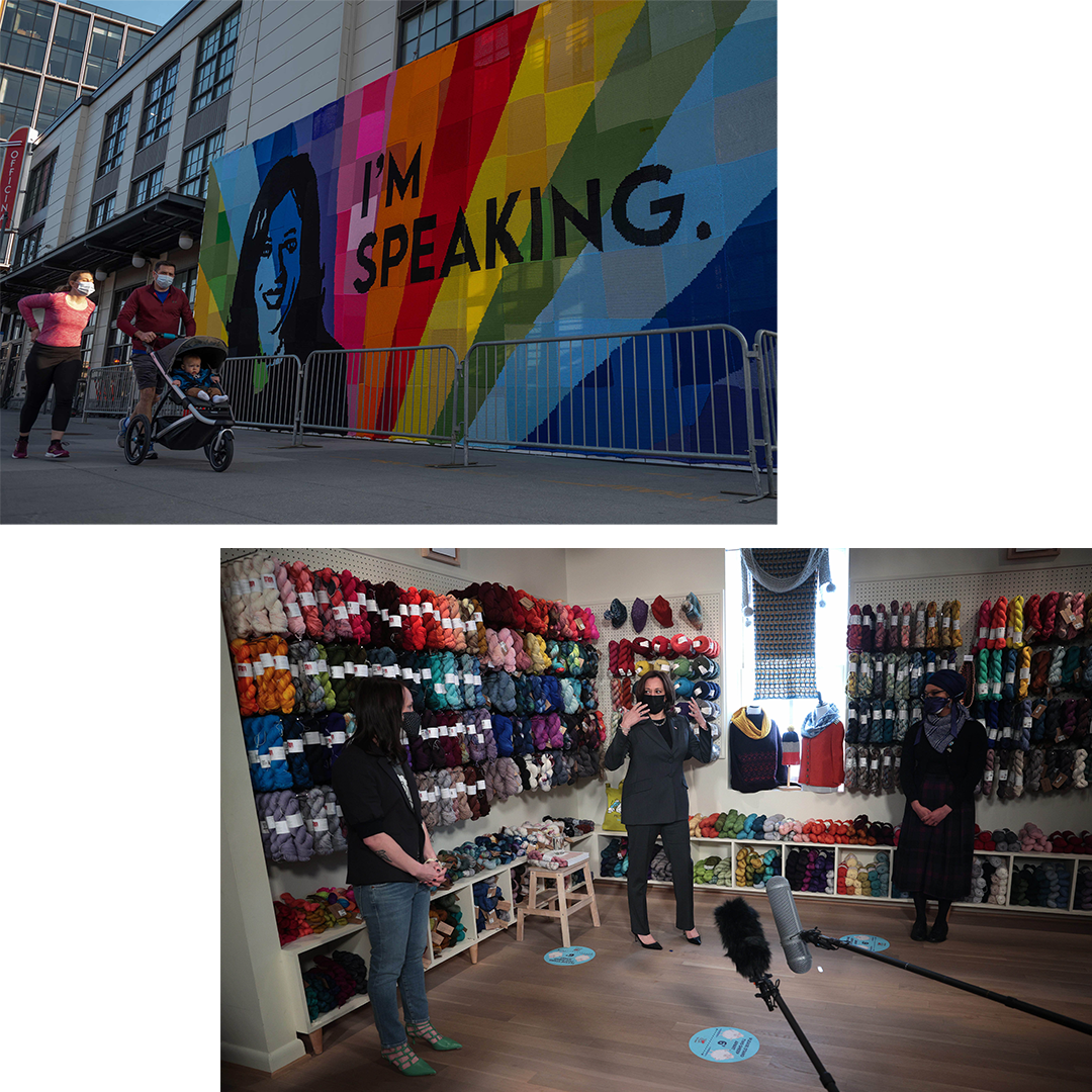 """TOP: People walk past a large-scale, outdoor crochet art installation of Vice President Kamala Harris in celebration of International Women's Day, by LA-based, international """"yarn bomber"""" and street artist London Kaye, at the Wharf in Washington, D.C., on March 8, 2021. ABOVE: With the U.S. Senate preparing to vote on another coronavirus stimulus package, Harris visits Fibre Space, a woman-owned small business in Alexandria, Virginia, March 3, 2021. Owner Danielle Romanatti, left, and manager Maiah Davis, right, sell yarn, fibre and other supplies."""
