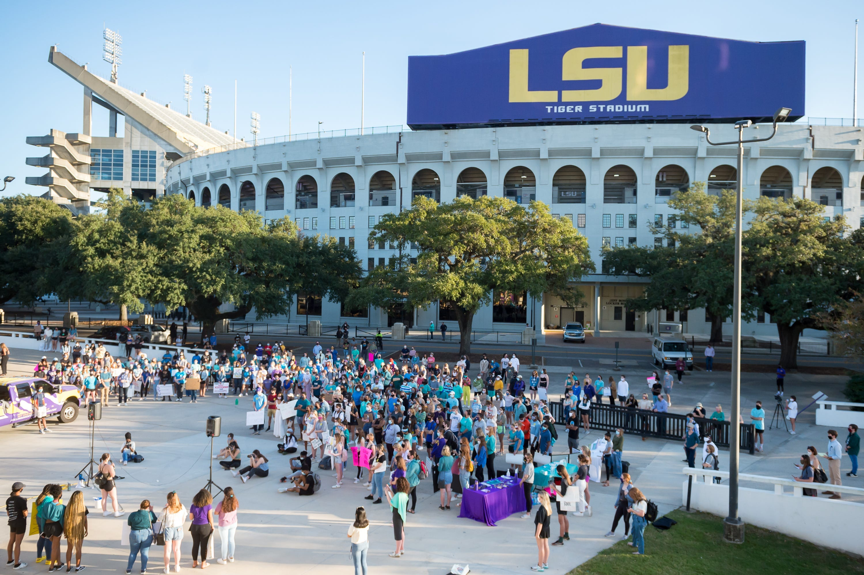 Protesters gather and march on LSU campus in reaction to the way school officials mishandled sexual misconduct allegations against students, including top athletes. November 20, 2020.
