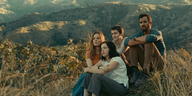 """Justin Theroux, right, Melissa George, Logan Polish and Gabriel Bateman in """"The Mosquito Coast,"""" which premieres April 30 on Apple TV+."""