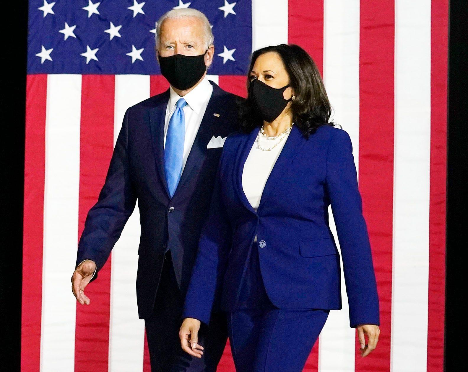Joe Biden and Kamala Harris in Wilmington, Del., on Aug. 12, 2020.