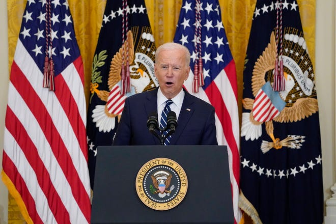 President Joe Biden at a news conference in the East Room of the White House on March 25, 2021, in Washington.