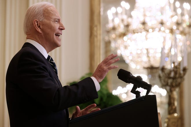 WASHINGTON, DC - MARCH 25: U.S. President Joe Biden talks to reporters during the first news conference of his presidency in the East Room of the White House on March 25, 2021 in Washington, DC.